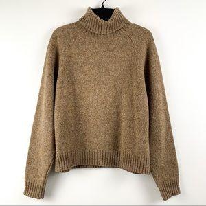 Gap 100% wool turtleneck pullover heavyweight sweater in marled tan/brown, large
